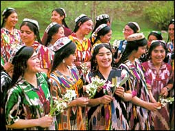 Uzbek girls in national dresses