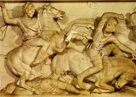 Detail from a depiction of Alexander the Great on horseback striking down a Persian soldier